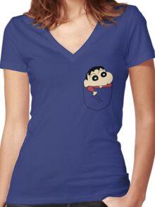 Pocket Shin Chan Women's Fitted V-Neck T-Shirt