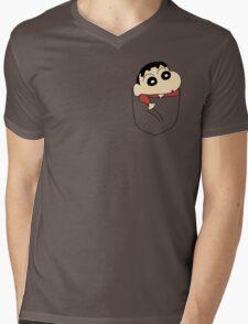Pocket Shin Chan Mens V-Neck T-Shirt