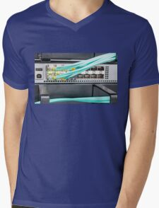 Fibre Optic Patch Leads in Networking Router Mens V-Neck T-Shirt
