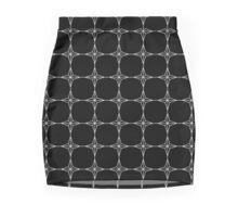 Four Point Stars - Black and White w/ Lines ~ Black Background Mini Skirt