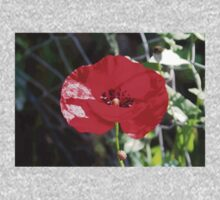 Vector Style Poppy With Natural Background  One Piece - Long Sleeve
