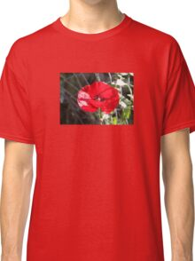 Vector Style Poppy With Natural Background  Classic T-Shirt