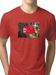 Vector Style Poppy With Natural Background  Tri-blend T-Shirt