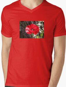 Vector Style Poppy With Natural Background  Mens V-Neck T-Shirt
