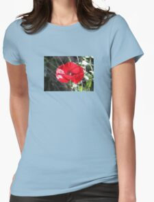 Vector Style Poppy With Natural Background  Womens Fitted T-Shirt