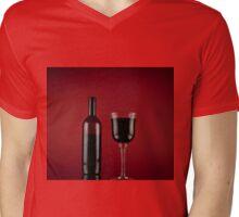 Wine red glass bottle Mens V-Neck T-Shirt