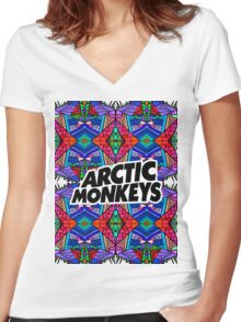 Arctic Monkeys - Trippy Pattern 3 Women's Fitted V-Neck T-Shirt
