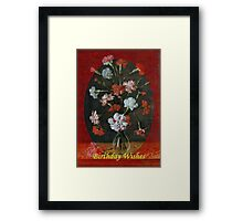 Birthday Wishes - Vintage Carnations In A Glass Vase Framed Print