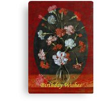 Birthday Wishes - Vintage Carnations In A Glass Vase Canvas Print