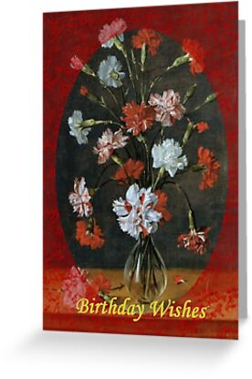 Birthday Wishes - Vintage Carnations In A Glass Vase by taiche