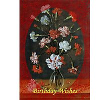 Birthday Wishes - Vintage Carnations In A Glass Vase Photographic Print