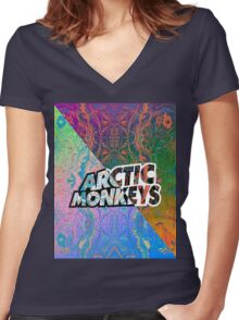 Arctic Monkeys - Colorful Pattern 1 Women's Fitted V-Neck T-Shirt