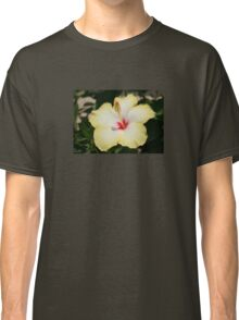 Yellow Hibiscus With Garden Background Classic T-Shirt