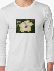 Yellow Hibiscus With Garden Background Long Sleeve T-Shirt