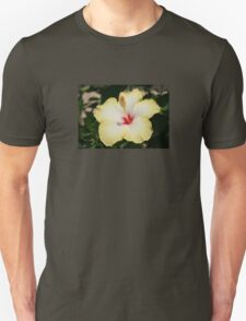 Yellow Hibiscus With Garden Background T-Shirt