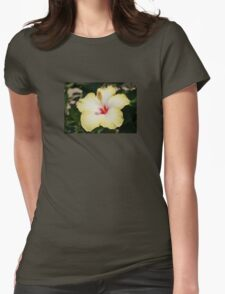 Yellow Hibiscus With Garden Background Womens Fitted T-Shirt
