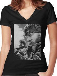 The Revenant Tom Hardy in action Women's Fitted V-Neck T-Shirt