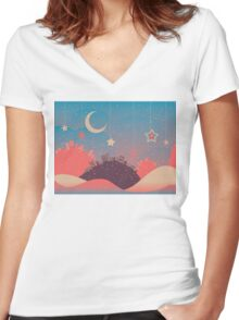 Night Winter City 3 Women's Fitted V-Neck T-Shirt