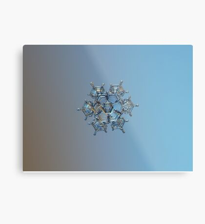 Flying castle, real snowflake macro photo Metal Print