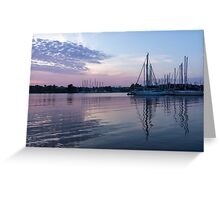 Soft Purple Ripples - Yachts and Clouds Reflections Greeting Card