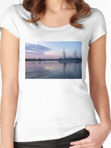 Soft Purple Ripples - Yachts and Clouds Reflections Women's Fitted Scoop T-Shirt