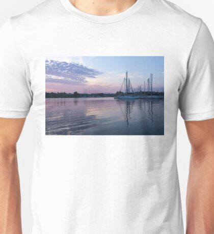 Soft Purple Ripples - Yachts and Clouds Reflections Unisex T-Shirt