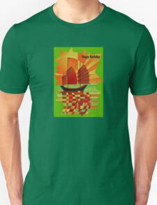 Happy Birthday Junk on Sea of Green Cubist Abstract  T-Shirt