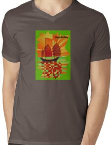 Happy Birthday Junk on Sea of Green Cubist Abstract  Mens V-Neck T-Shirt