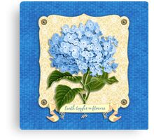 Earth Laughs In Flowers Blue Hydrangea Yellow Damask Canvas Print