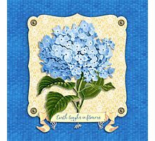 Earth Laughs In Flowers Blue Hydrangea Yellow Damask Photographic Print