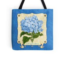 Earth Laughs In Flowers Blue Hydrangea Yellow Damask Tote Bag