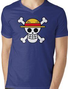 Luffy- Straw Hat Pirates Flag Mens V-Neck T-Shirt