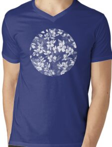 Blossoms on Charcoal Ink Mens V-Neck T-Shirt
