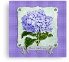 Purple Hydrangea Fancy Ribbon Fiber Paper Cutouts Canvas Print