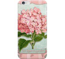 Pink Hydrangea Green Ribbon Striped Paper Cutouts iPhone Case/Skin