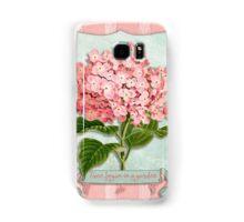 Pink Hydrangea Green Ribbon Striped Paper Cutouts Samsung Galaxy Case/Skin