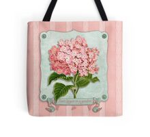 Pink Hydrangea Green Ribbon Striped Paper Cutouts Tote Bag