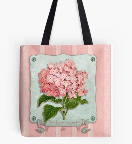 Pink Hydrangea Green Ribbon Striped Paper Cutouts Tote Bag