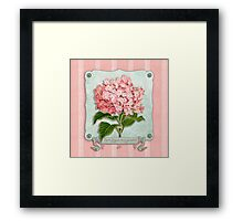 Pink Hydrangea Green Ribbon Striped Paper Cutouts Framed Print