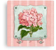 Pink Hydrangea Green Ribbon Striped Paper Cutouts Canvas Print