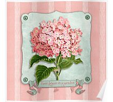 Pink Hydrangea Green Ribbon Striped Paper Cutouts Poster