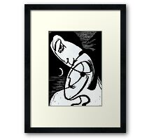 The Kiss By Moonlight and Ocean Framed Print