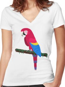 Red Ara Women's Fitted V-Neck T-Shirt