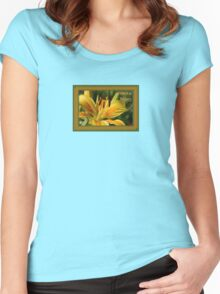 Birthday Wishes Greeting Card With A Yellow Lily Women's Fitted Scoop T-Shirt