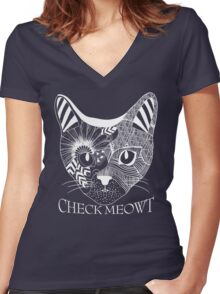 Check Meowt. Women's Fitted V-Neck T-Shirt