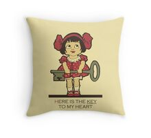 The key to my heart, love, retro vintage cute toddler Throw Pillow