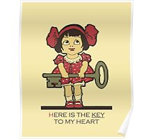 The key to my heart, love, retro vintage cute toddler Poster