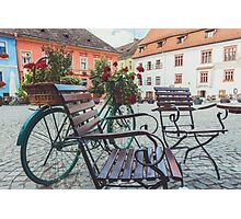Bicycle in the old square Photographic Print