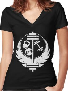 Brotherhood of steel(gym edition, white and aged) Women's Fitted V-Neck T-Shirt