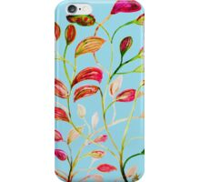 Red and Green Leaves on Light Blue iPhone Case/Skin